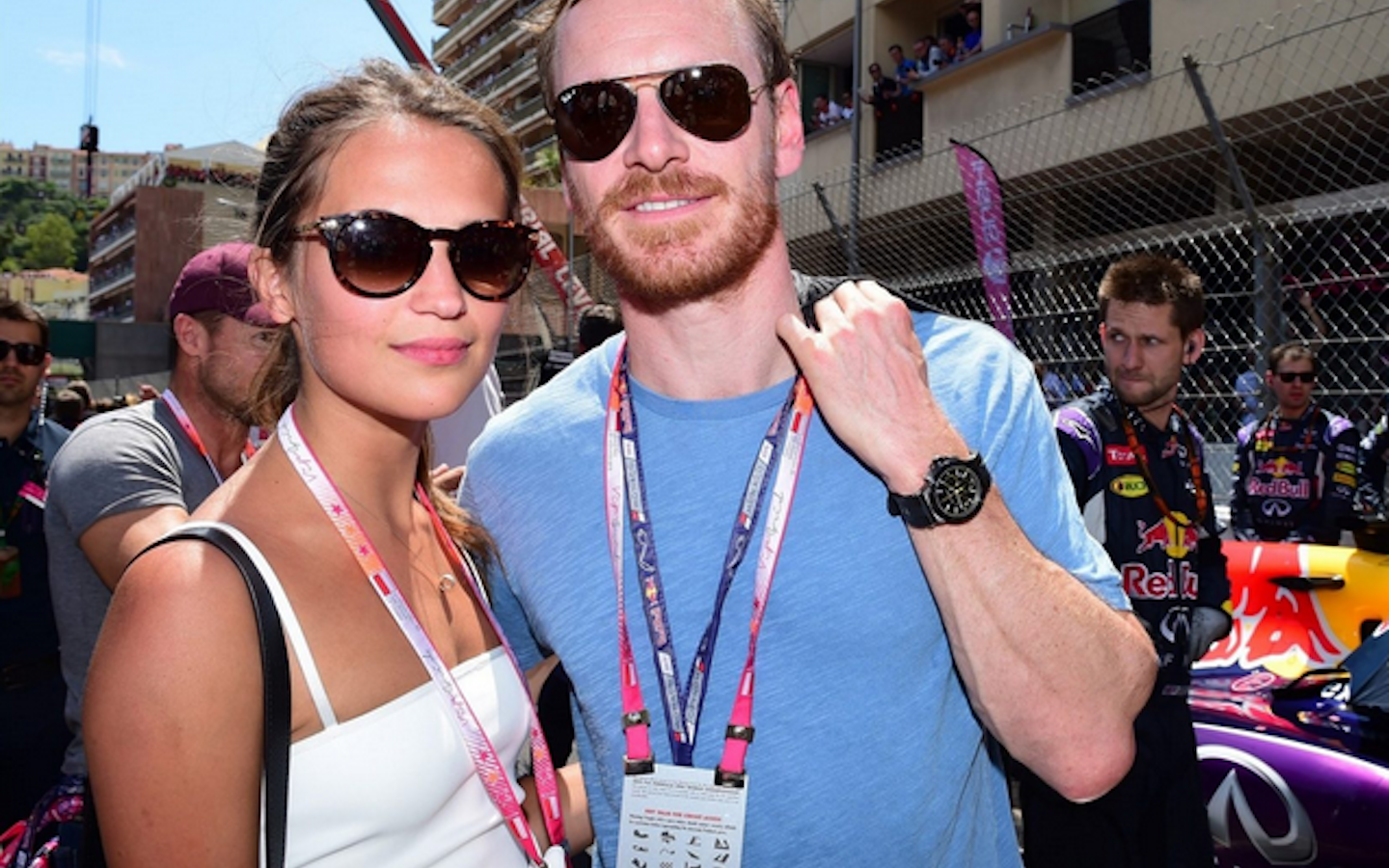 Actor Michael Fassbender with girlfriend/actor Alicia Vikander at the Monaco Grand Prix Race, May 2015.