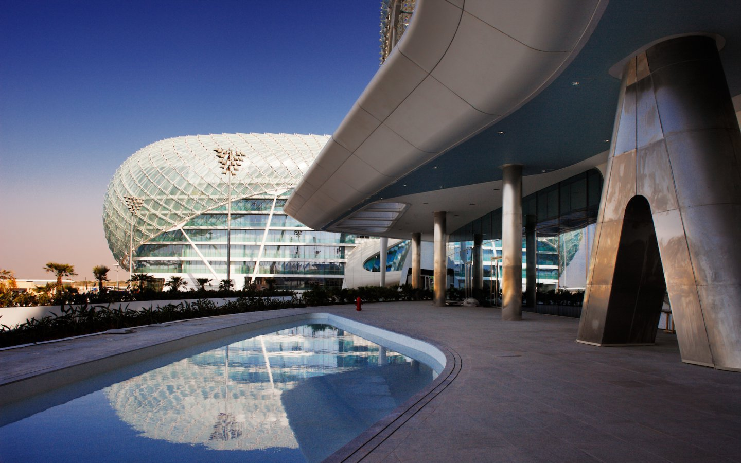 The Yas Hotel in Abu Dhabi was the first new hotel in the world to be built over an F1 race circuit