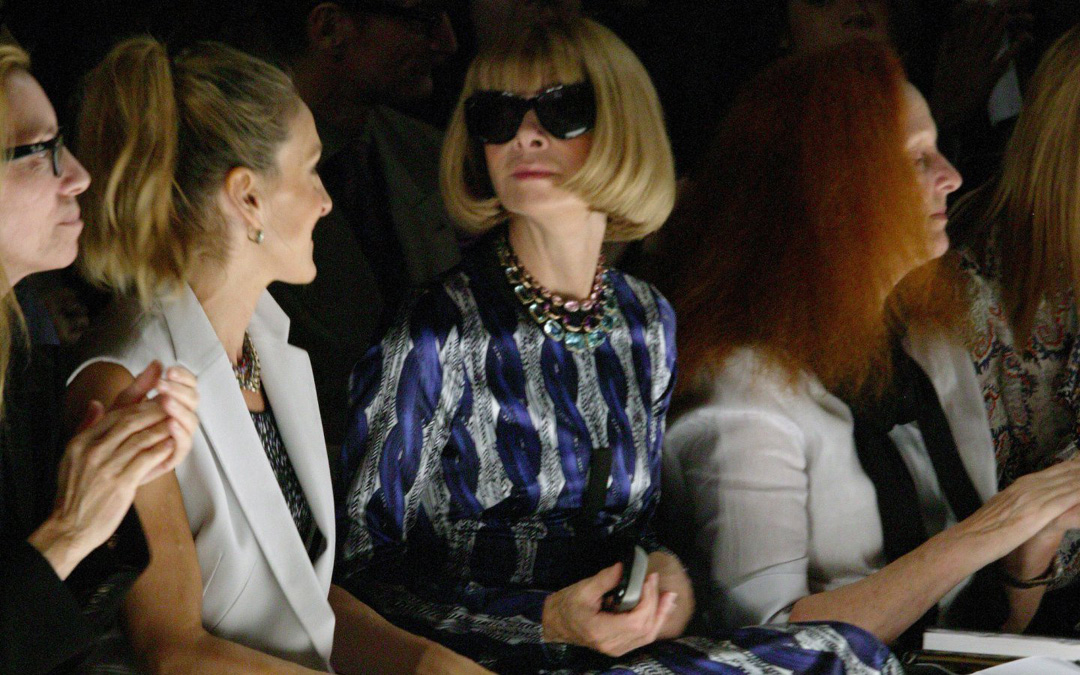 Anna Wintour is rarely spotted without shades. Noblesse oblige.